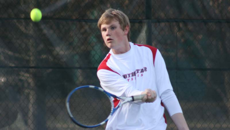 DAILY LEADER / MARTY ALBRIGHT / Loyd Star's Connor Crosby defeats Puckett in straight sets in boys single action Wednesday at the Brookhaven City Courts.