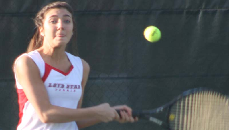 DAILY LEADER / MARTY ALBRIGHT / Loyd Star's Caylee Grace Yarborough returns a serve against Enterprise Friday.