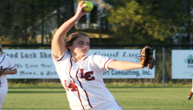 DAILY LEADER / MARTY ALBRIGHT / Lawrence County's Elizabeth Smith prepares to pitch to Brookhaven Thursday in softball action.