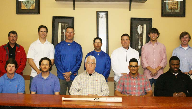 DAILY LEADER / MARTY ALBRIGHT /  Looking forward to Tuesday's opening baseball series of the Ninth Annual Coca-Cola Classic/Powerade Challenge are (from left, seated) Co-Lin players Mitch Little, Phillip Lott, Neal Randall of Chasing Fly Balls, and Southwest players Collin Carroll, Kendric Hodges; (standing) McComb Coca-Cola Bottling Co. On Premise and Sales Manager Gary Nelson, Co-Lin player Corey Funk, Co-Lin assistant coach Bryan Noble, Co-Lin head coach Clay Smith, Southwest head coach Lee Kuyrkendall, and Southwest players Anthony Durr and Logan Ferrell.