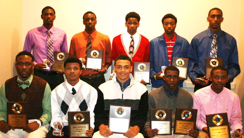 DAILY LEADER / MARTY ALBRIGHT / Brookhaven Panthers receiving special awards at Monday night's Basketball Banquet were (from left, seated) Khalil Newton, All-Division; Shon Blackwell, Most Improved; Fred Trevillion, All-Division; Lazorian McNulty, Best Offensive Player, All-Division; Keante Benjamin, Panther Award; (standing) Darrian Wilson, Best Defensive Award; Carl King, Scholastic Award; Shaquan Richardson, Most Improved, All-Division; Damarius Brooks, Mr. Hustle; Tavis Moore, Best Rebounder Award.