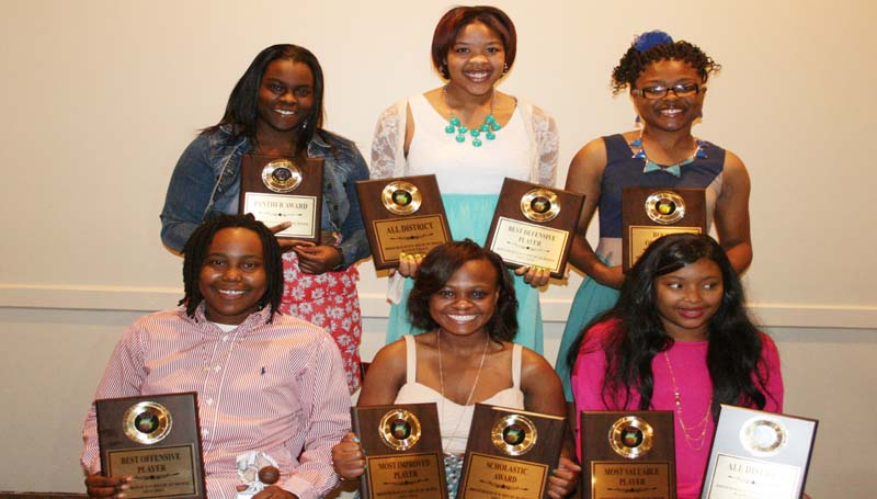 DAILY LEADER / MARTY ALBRIGHT Brookhaven Lady Panthers receiving special awards at Monday night's Basketball Banquet were (from left, seated) Jessica Wilson, Best Offensive Player; Yasmine Hill, Most Improved, Scholastic Award; Fredericka Fairman, Most Valuable Player, All-District; (standing) Chantel Quarles, Panther Award; Kynitria Hill, Best Defensive Player, All-District; Jada Henderson, Rookie of the Year.