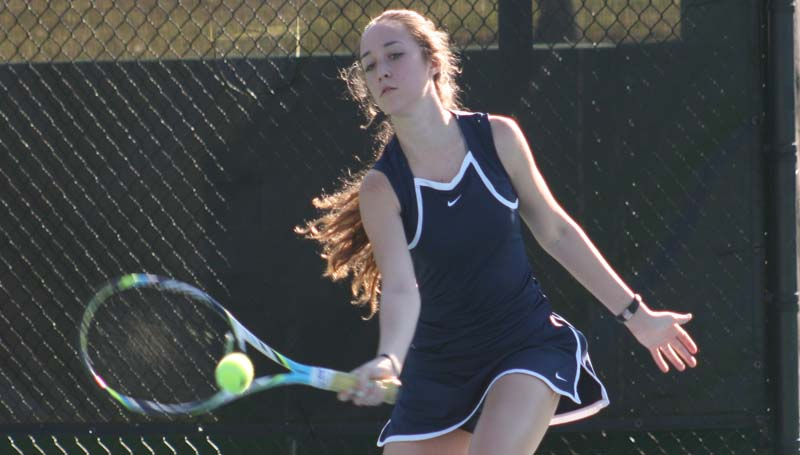DAILY LEADER / MARTY ALBRIGHT / Brookhaven's Madison Currie returns a serve against Richland Tuesday in tennis action at Brookhill.