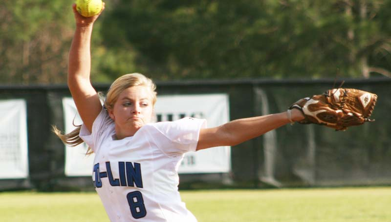 DAILY LEADER / MARTY ALBRIGHT / Co-Lin's Rheagan Welch prepares to deliver her pitch against East Central in South JUCO action Wednesday at the Lady Wolves softball complex.