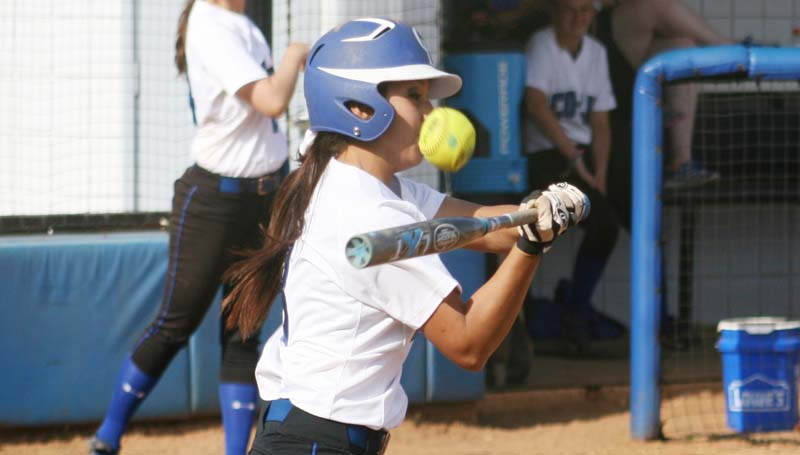 DAILY LEADER / MARTY ALBRIGHT / Co-Lin's Missy Romero fouls off a pitch against East Central Wednesday afternoon.