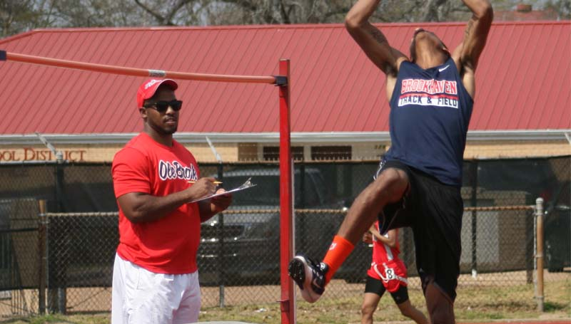 DAILY LEADER / MARTY ALBRIGHT / Brookhaven's Randy Wilson wins first place in the high jump in Saturday's Brookhaven Invitational Track meet.