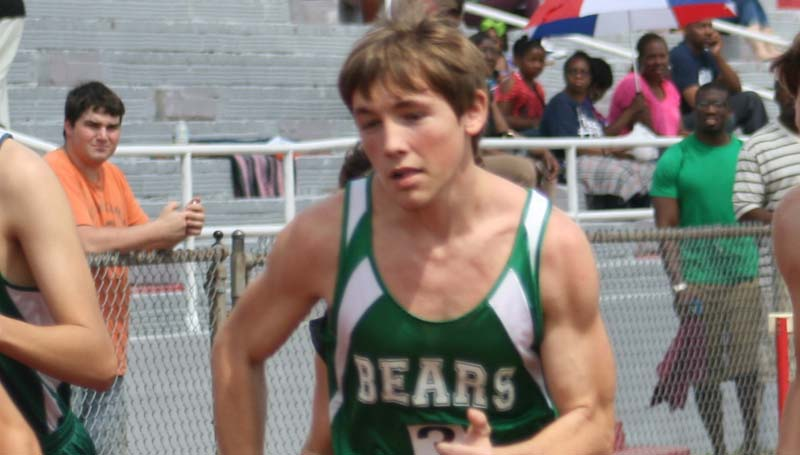 DAILY LEADER / MARTY ALBRIGHT /  West Lincoln's Jason Watts finishes third in the boys 3200 meter race at Brookhaven High.
