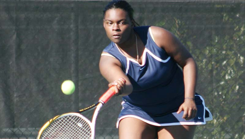 DAILY LEADER / MARTY ALBRIGHT / Brookhaven's Chantel Quarles returns a serve in girls doubles action against Columbia Tuesday at Brookhill.
