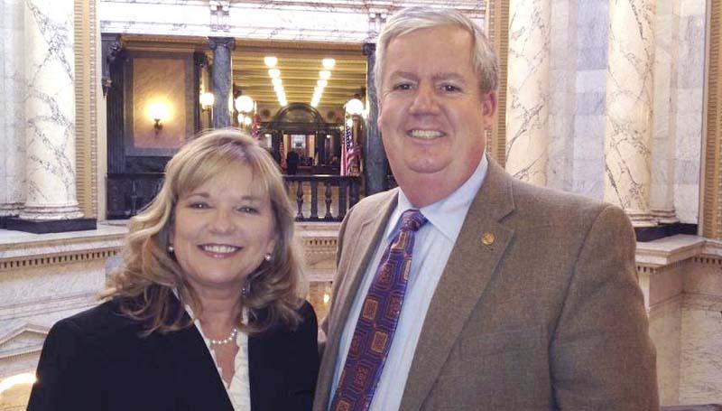 PHOTO SUBMITTED / Rep. Becky Currie, House of Representatives  Forestry Committee chair, is pictured with Gary Blair, vice president and branch manager of Southern Ag Credit in Brookhaven, during a recent visit to the State Capitol.