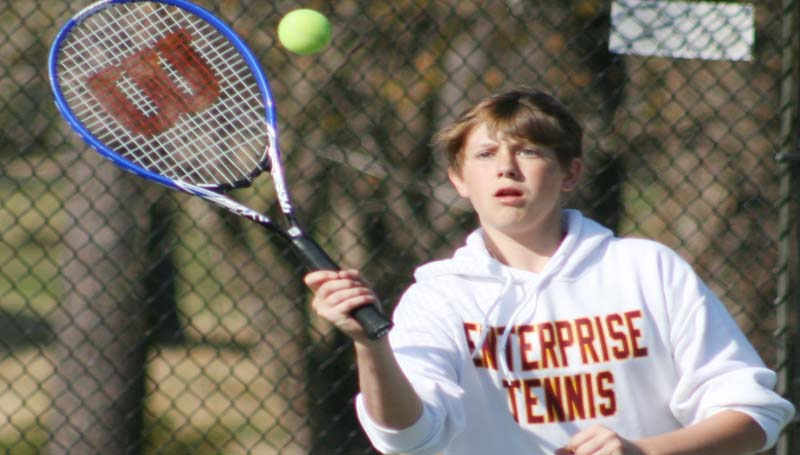 DAILY LEADER / MARTY ALBRIGHT / Enterprise's Wyatt Coleman helps his team win the Boys No. 2 Doubles match against Franklin County Thursday.
