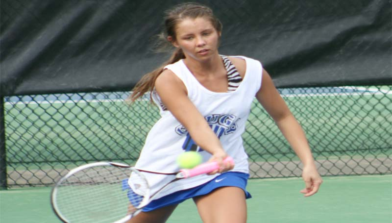 DAILY LEADER / MARTY ALBRIGHT / Brookhaven Academy's Madison Warren hustles in for the return in Girls No. 1 Doubles action at Brookhill Tuesday.