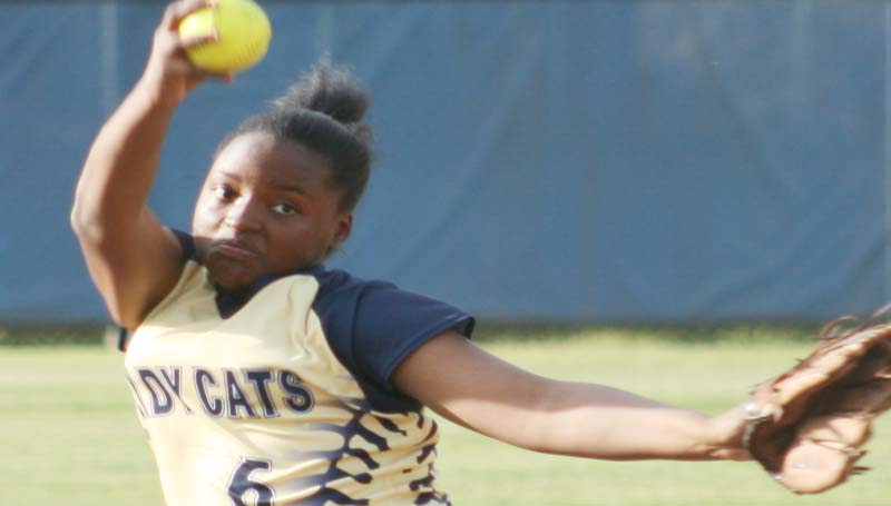 DAILY LEADER / MARTY ALBRIGHT / Bogue Chitto's Christian Black dominated the mound against Mount Olive in Thursday's softball action.