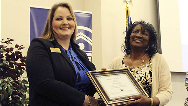 Dean of Career, Technical and Workforce Education Jackie Martin (left) presents Ora Franklin of the Brookhaven WIN Job Center with a Certificate of Appreciation at Co-Lin's Annual Business and Industry Appreciation Luncheon.