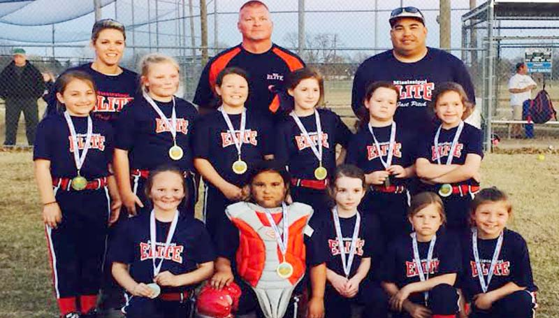 DAILY LEADER / Photo Submitted / MS Elite 05 8U fast pitch softball team won 2nd place at the 82 Challenge in Greenwood, Mississippi on March 30, 2014. Pictured are team members:  (First row from left)  Lynleigh Burt, Julianna Wilson, Madi Jones, Macie Shelton, Kaitlyn Jones;  (Second row) Bailey Case, Campbell Lee, Abby Williams, Kate Gladney, Olivia Banes, Addyson Sherer; (Back row) Coach Brook Shelton, Head Coach Ricky Lee, and Coach Albert Wilson.  (not pictured Coach Michael Banes)