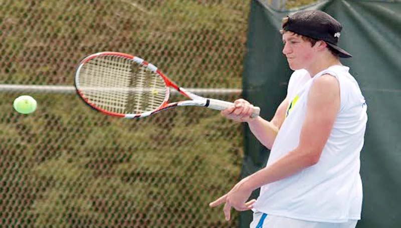 DAILY LEADER / TRACY FISCHER / Wesson CJ Viramontez (left) and Reid Crow compete in the individual Boys Doubles event at Duncan Park in Natchez. CJ and Reid won three matches to claim first place after defeating Franklin County 6-3, 7-6 in the finals Thursday.