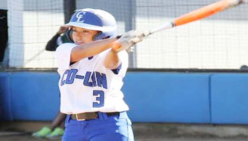 CO-LIN MEDIA / JIMMIE CAIN / Co-Lin's Missy Romero practices her swing as she walks toward the plate Wednesday.