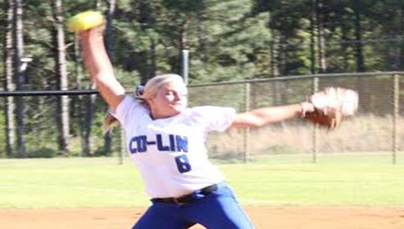 CO-LIN MEDIA / JIMMIE CAIN / Co-Lin's Rheagan Welch prepares to deliver her pitch against Meridian Wednesday.