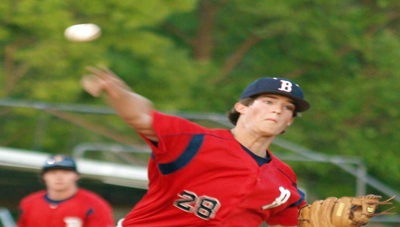 DAILY LEADER / TRACY FISCHER / Brookhaven's Scotty Bateman (28) delivers his pitch to Wesson in Friday night baseball action.