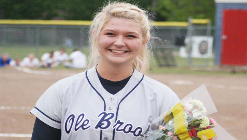 DAILY LEADER / MARTY ALBRIGHT / The Lady Panthers honored their only softball senior Alycen Speaks Thursday night against Warren Central.