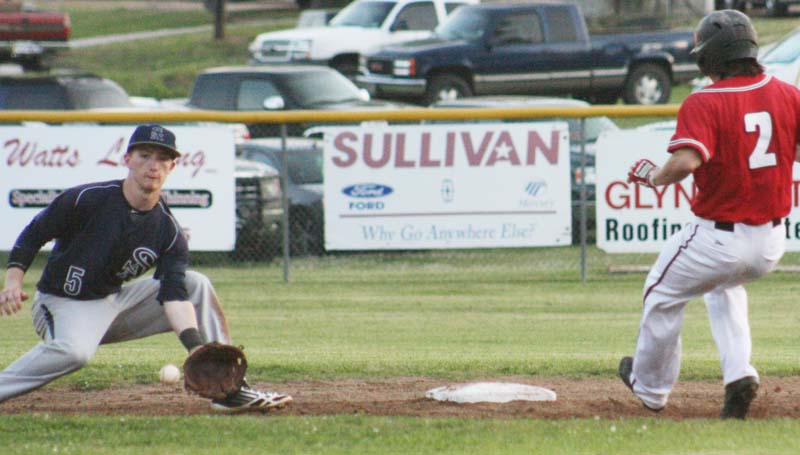 DAILY LEADER / MARTY ALBRIGHT / Loyd Star's Seth Farmer (2) steals second base standing up as St. Andrews shortstop Connor Woodall prepares to make the play Monday night.