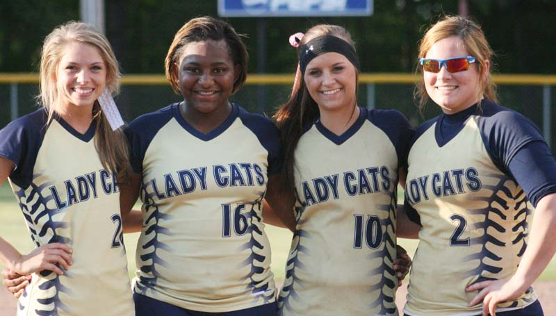 DAILY LEADER / MARTY ALBRIGHT / Bogue Chitto's seniors (from left) Mattie Avants, Marshonikique Blackwell, Alexis Givens and Jordan McKinney were recognized Tuesday night prior to playing the Lawrence County Lady Cougars.