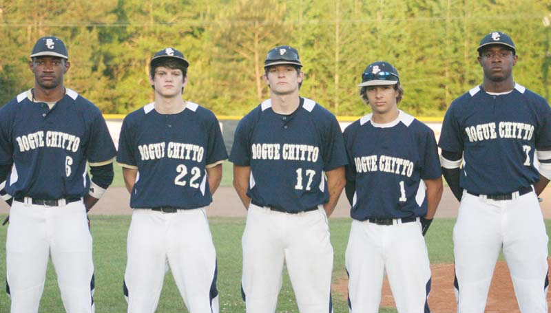 DAILY LEADER / MARTY ALBRIGHT / Bogue Chitto honored their baseball seniors (from left) Dennis Rogers, Keith Wells, Brock Roberts, Landon Roberts and Damien Terrell Tuesday.