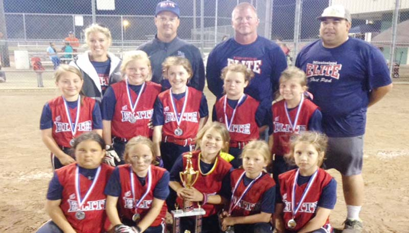 DAILY LEADER / Photo Submitted / SECOND PLACE - MS Elite 05 8U fast pitch softball team won 2nd place in the USFA Play for Autism tournament in Brookhaven, on April 12. Pictured are team members: (first row from left) Julianna Wilson, Lynleigh Burt, Lani Middleton, Macie Shelton, and Addyson Sherer; (second row) Bailey Case, Campbell Lee, Kate Gladney, Olivia Banes, and Kaitlyn Jones. (back row) Coach Brook Shelton, Coach Michael Banes, Head Coach Ricky Lee, and Coach Albert Wilson.