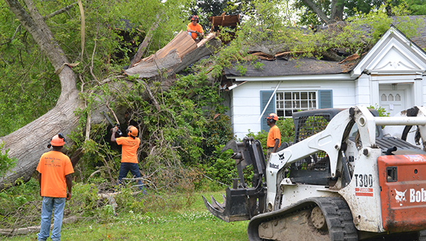 THE DAILY LEADER / RACHEL EIDE / Wayne Smith (on the roof) directs his crew Tuesday morning as one of his team members uses a chainsaw to cut through the huge trunk of a massive oak tree that toppled onto an old family home on Cassidy Street during a sudden windstorm Tuesday afternoon, April 8.