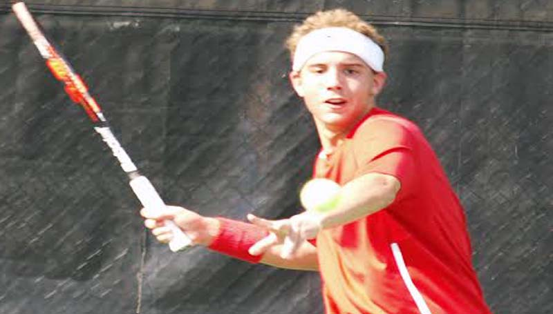 DAILY LEADER / TRACY FISCHER / Brookhaven's Jacob Bozeman captures a win in Boys Singles action of the South 5A Championship match against South Jones at Brookhill.
