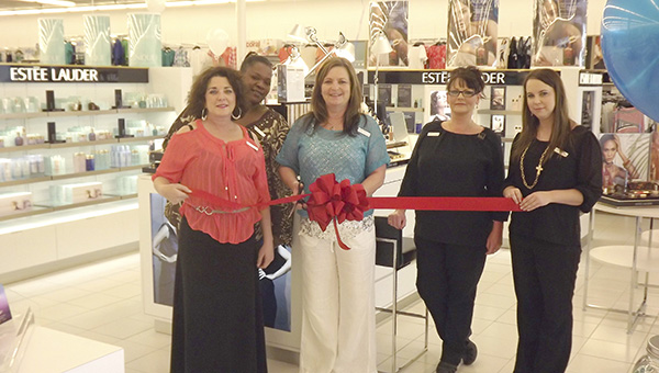 DAILY LEADER STAFF / On hand for a ribbon cutting and grand opening for the Goody's Clinique and Estee Lauder cosmetic counter Thursday morning in Brookhaven are (from left) Amanda Johnson, Linda Lilly, Ronnie Jones, Crystal Rowell and LeAnna Myers.