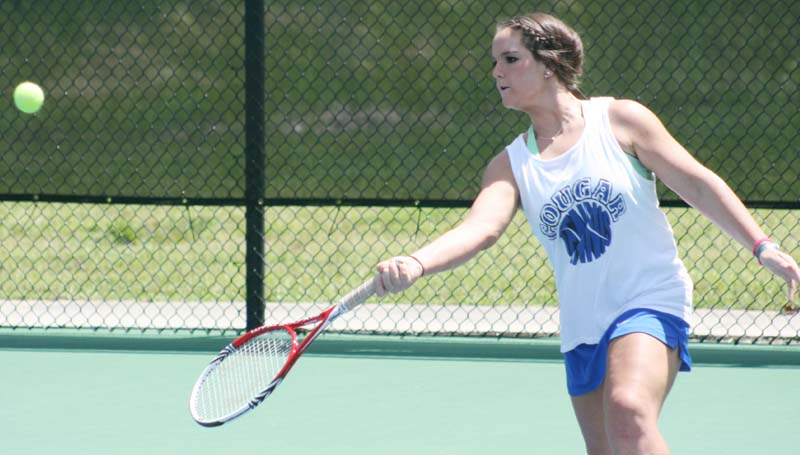 DAILY LEADER / MARTY ALBRIGHT / Brookhaven Academy Marlee Watts returns a serve in Girls No. 1 Doubles tennis action Wednesday at Brookhill.