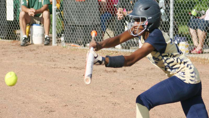 DAILY LEADER / MARTY ALBRIGHT / Bogue Chitto's Zariah Matthews tries to lay down a bunt against Salem.