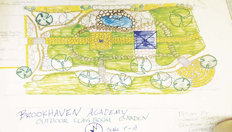 PHOTO SUBMITTED / Warren Stamps of Rainbow Landscape Contracting designed and drew up these plans for the outdoor learning center coming to Brookhaven Academy through Project Learning Tree - the educational arm of the American Forest Foundation.