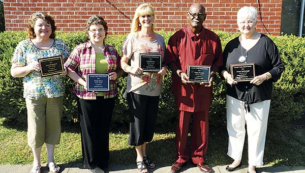 PHOTO SUBMITTED / Lincoln County School District honored their retirees at Monday's school board meeting, including Lora Hedgepeth (from left) of Loyd Star Attendance Center, Paula Myers of Loyd Star, Leah Brister of Enterprise Attendance Center, Hugh Braxton of Enterprise and Karen Yarborough of Bogue Chitto Attendance Center.