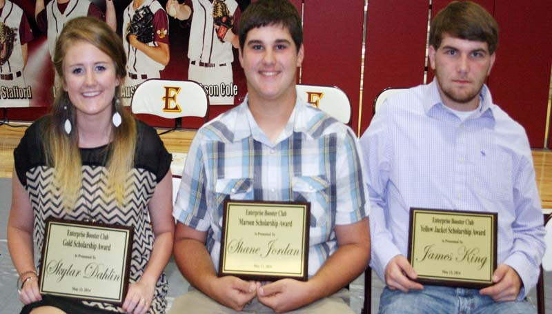 DAILY LEADER / MARTY ALBRIGHT / The Enterprise Booster Club honored three athletes with special scholarships during the school's athletic banquet. The finalists were (from left) Skylar Dahlin, Gold Scholarship; Shane Jordan, Maroon Scholarship; James King, Yellow Jacket Scholarship.