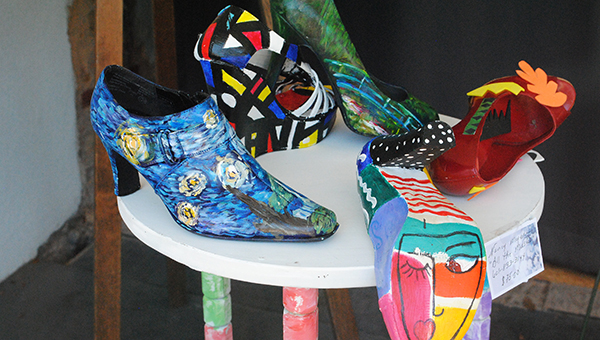 DAILY LEADER / RHONDA DUNAWAY / There are a variety of artistic types in BRAG. One of the founding members of the Guild, Nancy Hanks-Myers, is the artist who created these fabulous shoes designed after masters such as Picasso and Monet.