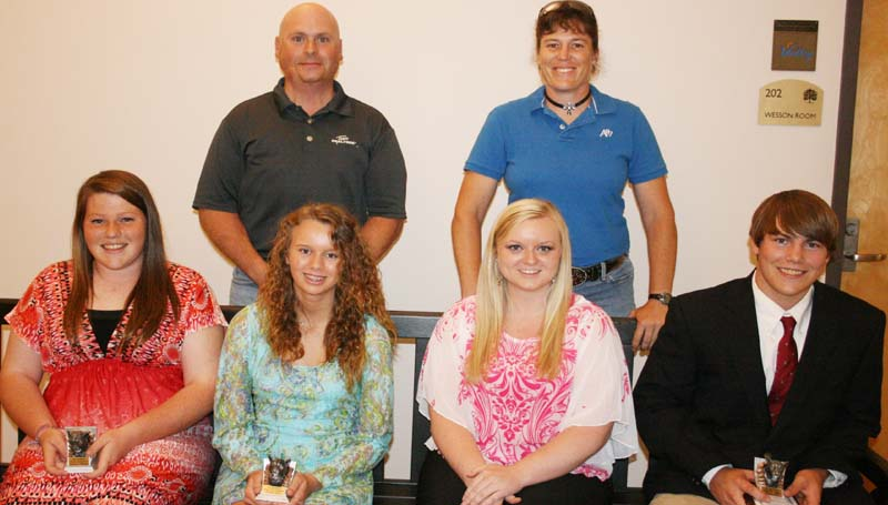 DAILY LEADER / MARTY ALBRIGHT / The Brookhaven Academy Archery team was honored during a spring athletic banquet. Players receiving awards were (seated, from left) Cameron Watson, Most Improved; Kaitlyn Bass, Highest Point Female; Ashlea Bardwell, Coaches Award; Collin Hall, High Point Male; (standing) Coach Steve Smith and Coach Sheila Smith.