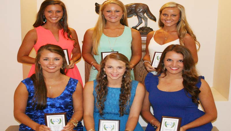 DAILY LEADER / MARTY ALBRIGHT / The Brookhaven Academy Cheer squad was honored during a spring athletic banquet. The cheerleaders receiving awards were (seated, from left)  Caroline Stewart, Lindsey Winborne, Anna Carollo; (standing) Madison Warren, Ashton Rials and Jordan Jackson.