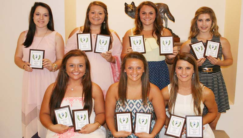 DAILY LEADER / MARTY ALBRIGHT / The Brookhaven Academy Fastpitch Softball team was honored during a spring athletic banquet. Players receiving awards were (seated, from left) Olivia Thornton, All-District, Team Captain; Allyson Barry, Team Captain Senior Award; Anna Smith, Best Defensive Player, All-District; (standing) Kailyn Jordan, Rookie of the Year; Maura Dunaway, Coaches Award, All-District; Allison Livingston, Most Valuable Player, All-District; and Anne Grace Covington, All-District, Best Offensive Player.