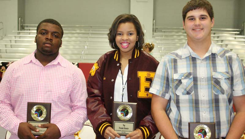 DAILY LEADER / MARTY ALBRIGHT / The Enterprise archery team was honored during the school's sports banquet. Players receiving awards were (from left) Adam McGee, Leadership Award; Nastacia Davis, Top Female Shooter; Shane Jordan, Top Male Shooter.