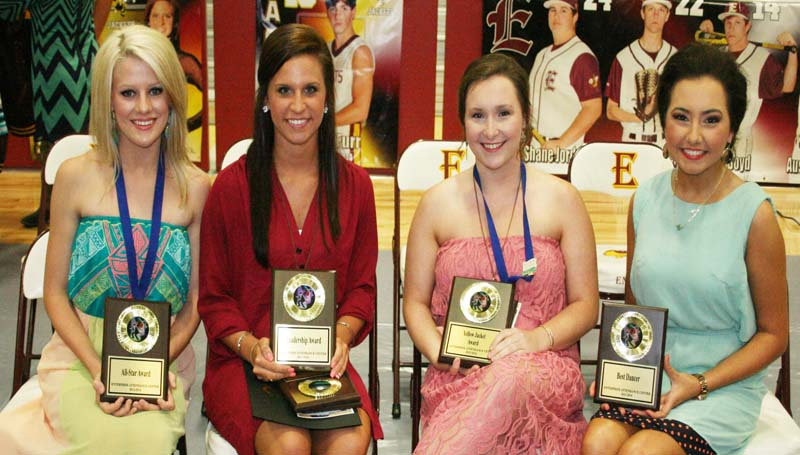 DAILY LEADER / MARTY ALBRIGHT / The Enterprise Dance team was honored during the school's athletic banquet. Players receiving awards were (seated, from left) Sara Harper Dunaway, All-Star Award; Ashley Boyd, All-Star Award, Leadership; Whitney Herring, All-Star Award, Yellow Jacket Award; Morgan Wallace, Best Dancer.