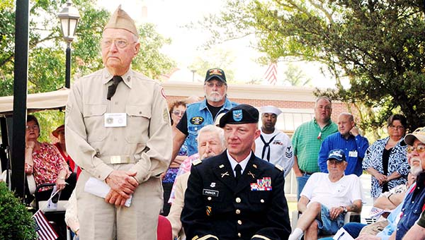 DAILY LEADER /  JULIA V. PENDLEY / Sgt. John Emory (left) and Col. Amos Parker were the keynote speakers at Monday's Memorial Day ceremony in front of the Lincoln County-Brookhaven Government Complex.
