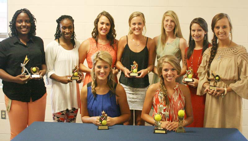 DAILY LEADER / MARTY ALBRIGHT / The Bogue Chitto slowpitch softball team was honored during a sports athletic banquet Tuesday night. Players receiving awards were (seated, from left) Colby Kirkland, Down & Dirty Award; Mattie Avants, All-Star Selection, Lady Bobcat Award; (Standing) Christian Black, Batting Title Award, Daily Leader Slowpitch MVP; Zariah Matthews, Coaches Award; Brooke Myers, Pitcher Award; Mallory Allen, Outfielder Award; Terrah Nelson, Rookie of the Year; Alana Nettles, Infielder Award; Alexis Givens, Golden Glove.