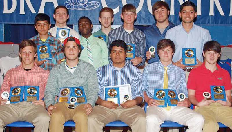 DAILY LEADER / TRACY FISCHER / The Wesson Boys team was honored during the school's athletic banquet. Players receiving awards were (from left, seated) Jordan Westrope, Senior Award, Most Valuable Defensive, All District Most Valuable Defender; Konner Stevens, Senior Award, All District, Most Valuable Mid Fielder;  Luis Mellado, Senior Award, All District; CJ Viramontez, Senior Award, All District, Most Valuable Offensive;  Andy Bates, Senior Award, All District; (Second row) Kelvin Casanova, Rookie Award;  Marcus Jones, All District; Justin Morgan, Coaches Award; Fred Arzate, All District; (Back row) Gray Levison, Most Improved;  Ryan Shirley, Senior Award, All District; Adam Hamilton, Senior Award.  Not Pictured:  Manuel Arzate, Senior Award, Most Valuable Player, All District Most Valuable MidFielder.