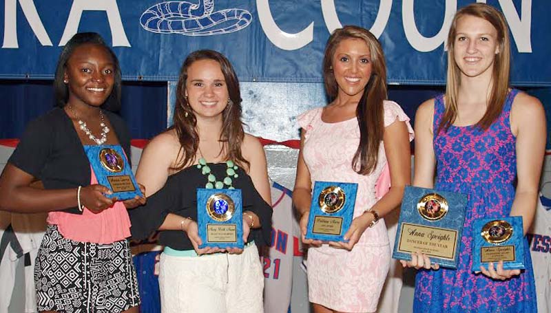 DAILY LEADER / TRACY FISCHER / The Wesson Dance team was honored during the school's athletic banquet. Dancers receiving awards were (seated, from left) Arevica Cameron, Rookie of the Year; Mary Beth Munn, Heart of a Champion;  Brittany Moore, 110% Award;  Anna Speights, Dancer of the Year, Leadership Award (Captain). Not Pictured: Paige Tadlock, Most Improved.