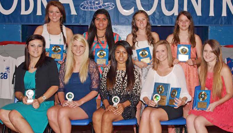 DAILY LEADER / TRACY FISCHER / The Wesson Girls team was honored during the school's athletic banquet. Ladies receiving awards were (from left, seated) Sarah Robinson, Senior Award; Danielle Netterville, Senior Award; Samanta Garduno, Senior Award; Keylee Morgan, Senior Award, Most Valuable Player, All District;  Emily Gregg, Most Improved Player; (Back Row) Carly Fleming, Most Valuable Mid Fielder; Joslynn Arzate, Most Valuable Defensive Player;  Amber Brinson, Rookie Award; Meagan Jones, Coaches Award. Not Pictured: Lindsey Day, Senior Award, All District, Most Valuable Offensive Player.