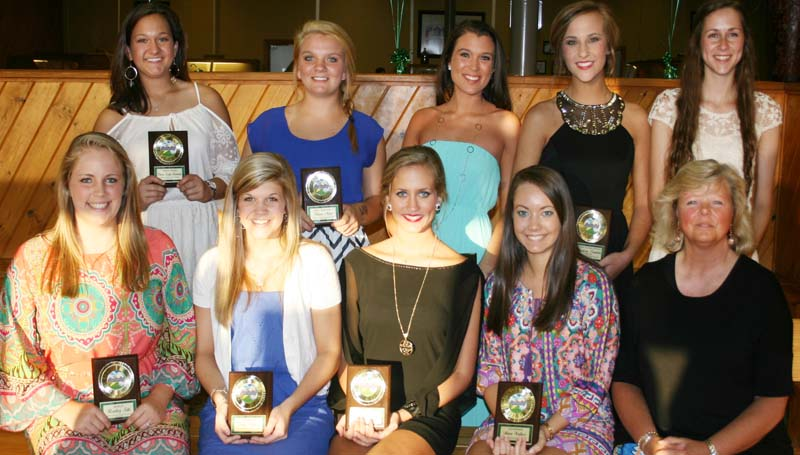 DAILY LEADER / MARTY ALBRIGHT / The West Lincoln cheerleading squad was honored during a spring athletic banquet. Players receiving awards were (seated, from left) Bentley Sills, Mascot; Emily Walker, Co-Captain; Savannah Rushing, Captain; Anna Wallace, Co-Captain; Cheer Coach Cathy Kimble; (Standing) Laura Leigh Dunaway, Rookie Award; Hanna Moak, Most Spirited, Carlee Doty, Best All-Around Cheerleader; Madison Franklin, Highest Average; Carlie Smith, Most Improved.