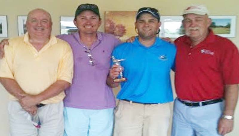 """DAILY LEADER / Photo Submitted / TOURNAMENT WINNER - Winning the golf tournament in Bogue Chitto's powerlift fundraiser at the Brookhaven Country Club was the KDMC golf team with a score of 57. Members of the team were from left, Kim Bridge, Randy Allen, Lee Berry and Brandon Goldsmith. BC coach Chad Norton stated """"I would like to thank all the businesses in and around the Brookhaven area that donated money and items that went toward our fundraising efforts. I would also like to thank all the players and volunteers that help with our tournament."""""""