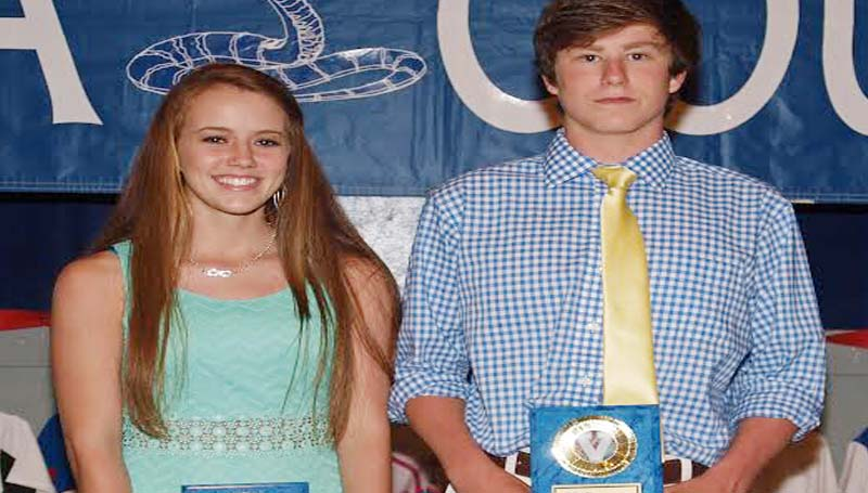 DAILY LEADER / TRACY FISCHER / COBRA AWARD - Wesson's Spring Athletic banquet recognized their Cobra award winners Kayla Britt (left) and CJ Viramontez.
