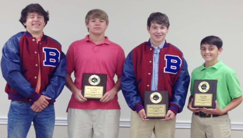 DAILY LEADER / Photo Submitted / The Brookhaven Golf team received special awards during their athletic banquet. Players receiving awards were (from left) Judson Henning, Golf Letter; Penn Wilson, Most Improved; Alford Driskell, Most Valuable Player; Grant Mills, Panther Award.